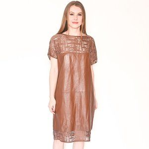 ESCADA Leather & Lace Brown Short-Sleeve Dress